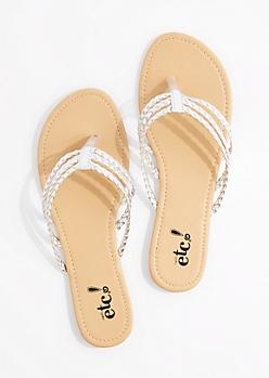 Silver Tri-Layered Braided Flip Flop