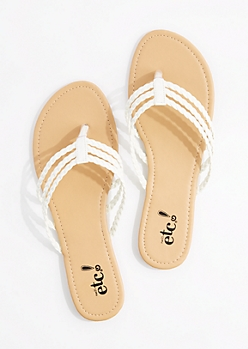 White Tri-Layered Braided Flip Flop