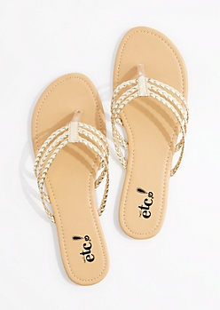 Gold Tri-Layered Braided Flip Flop