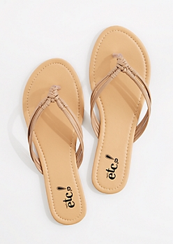 Taupe Woven Knot Strap Flip Flop
