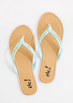 Turquoise Woven Knot Strap Flip Flop