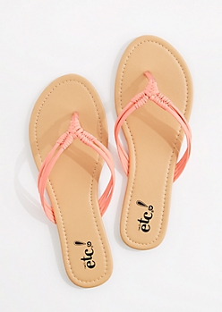 Coral Woven Knot Strap Flip Flop