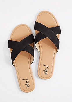 Black Faux Suede Cross-Strap Flip Flop