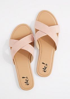 Pink Faux Suede Cross-Strap Flip Flop