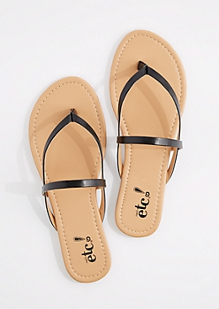 Black Cross-Strap Faux Leather Flip Flop
