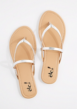 Silver Metallic Cross-Strap Flip Flop