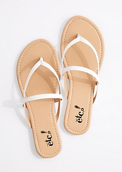 White Cross-Strap Faux Leather Flip Flop