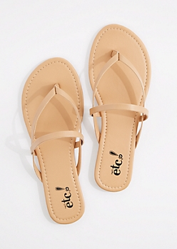 Taupe Cross-Strap Faux Leather Flip Flop