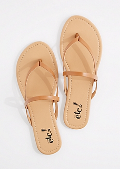Cognac Cross-Strap Faux Leather Flip Flop