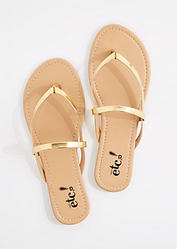 Gold Metallic Cross-Strap Flip Flop