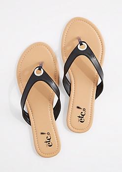 Black Grommet Flip Flop