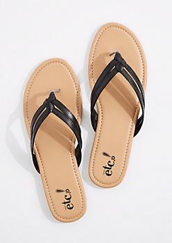 Black Woven Double Strap Flip Flop