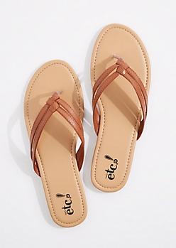 Cognac Woven Double Strap Flip Flop