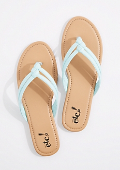 Light Blue Woven Double Strap Flip Flop