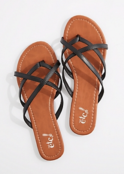 Black Cross-Strap Flip Flop