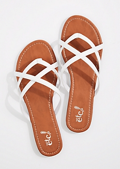 White Cross-Strap Flip Flop