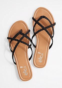 Black Braided Criss-Cross Strap Flip Flop