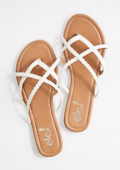 White Braided Criss-Cross Strap Flip Flop