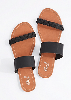 Black Braided Band Flip Flop