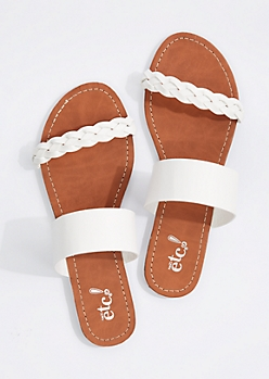 White Braided Band Flip Flop