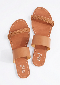 Cognac Braided Band Flip Flop