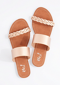 Metallic Rose Gold Braided Band Flip Flop