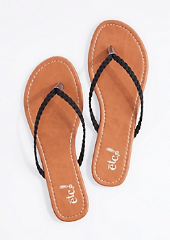 Black Braided Strap Flip Flop