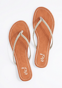 Gray Braided Strap Flip Flop