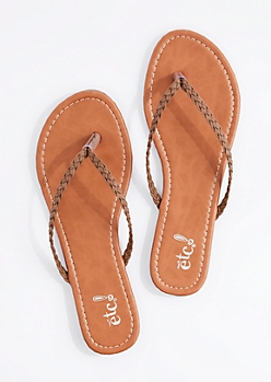 Brown Braided Strap Flip Flop