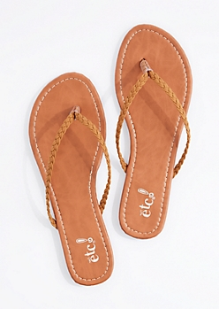 Cognac Braided Strap Flip Flop