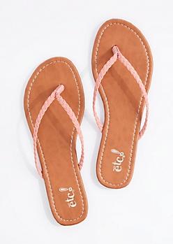 Pink Braided Strap Flip Flop