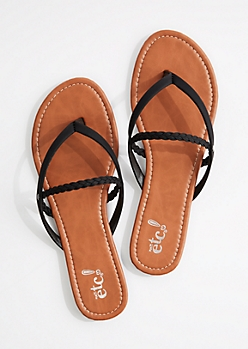 Black Braided Strappy Flip Flop