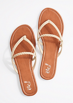 Taupe Braided Strappy Flip Flop