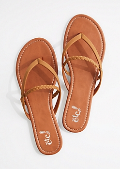 Cognac Braided Strappy Flip Flop