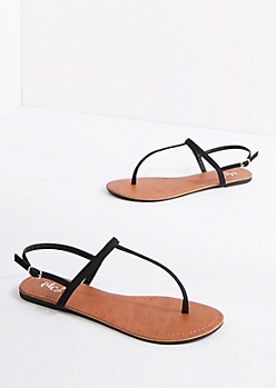 Black Vegan Leather T-Strap Sandal