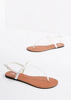 White Vegan Leather T-Strap Sandal