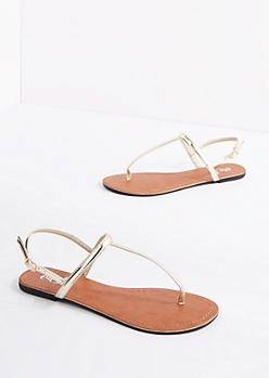 Gold Metallic T-Strap Sandal