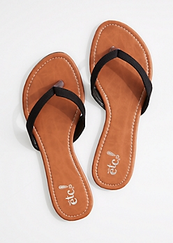 Black Faux Suede Flip Flop