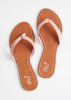 Light Pink Faux Suede Flip Flop