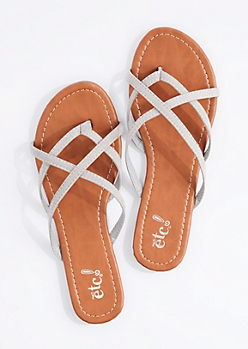 Gray Cross-Strap Flip Flop