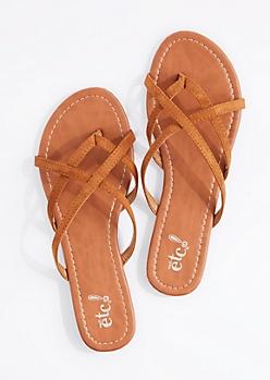 Cognac Cross-Strap Flip Flop
