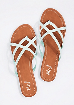 Light Blue Cross-Strap Flip Flop