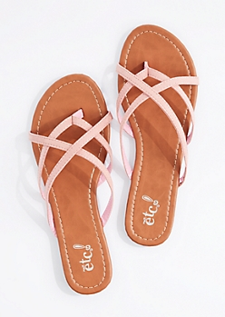 Light Pink Cross-Strap Flip Flop