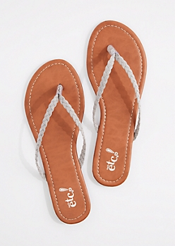 Gray Braided Faux Suede Flip Flop