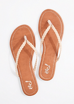 Taupe Braided Faux Suede Flip Flop