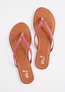 Dark Pink Braided Faux Suede Flip Flop