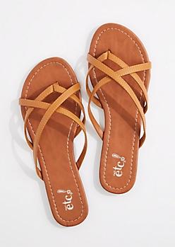 Cognac Crossing Strap Flip Flop