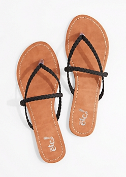 Black Braided Cross-Strap Flip Flop