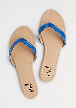 Royal Blue Patent Flip Flops