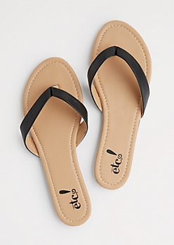 Black Vegan Leather Flip Flops